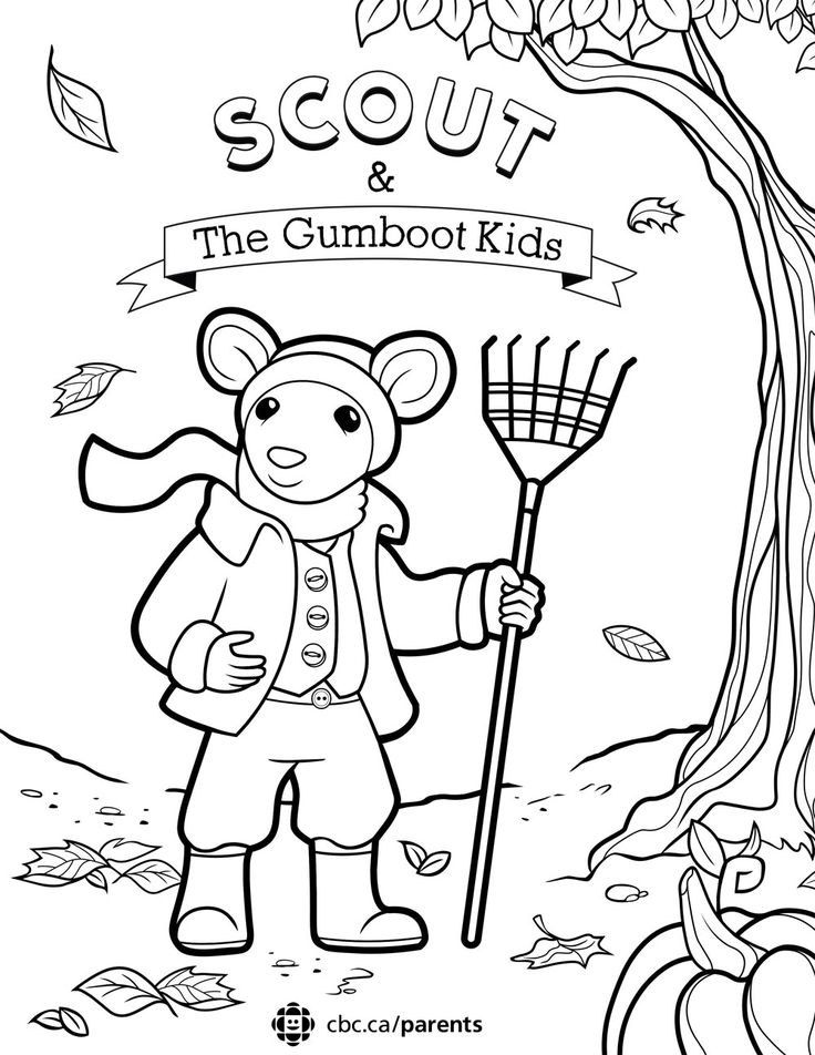 A Scout & the Gumboot Kids colouring sheet for kids
