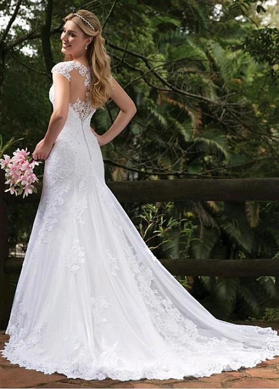 Magbridal Modest Tulle V-neck Neckline Mermaid Wedding Dresses With Lace Appliques & Beadings