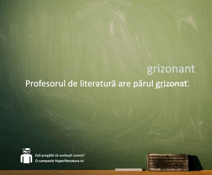 """Varianta corectă a cuvântului este """"grizonant"""", din franțuzescul """"grisonnant"""", și are sensul de (păr) cărunt, sur, gri, care începe să încărunțească."""