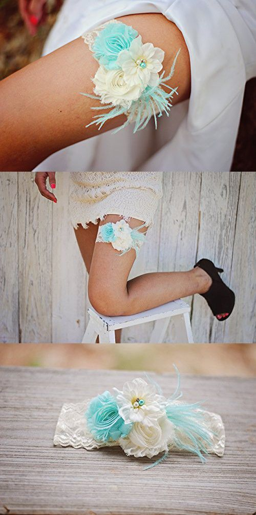 Shabby Chiffon Ivory Aqua Blue Lace Pearl Feather Flower Bridal Garter Vintage Wedding Garter
