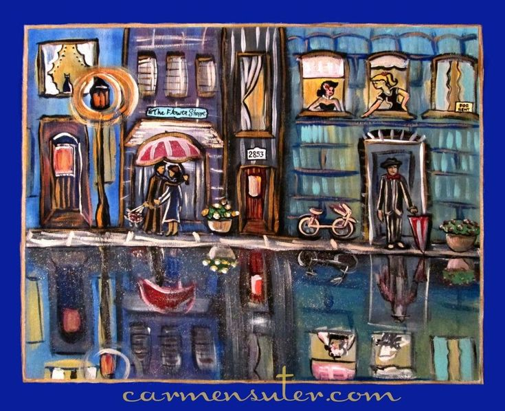 """Saturday Night in the City - 20"""" x 16"""" Acrylic on Canvas - Painting by Carmen Suter"""