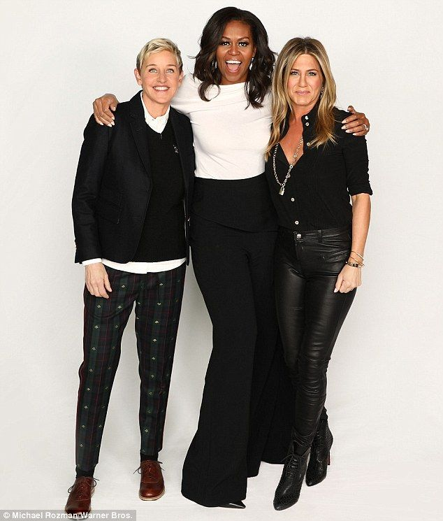 A good friend: Jennifer Aniston stopped by Ellen DeGeneres' daytime talk show to wish her ...