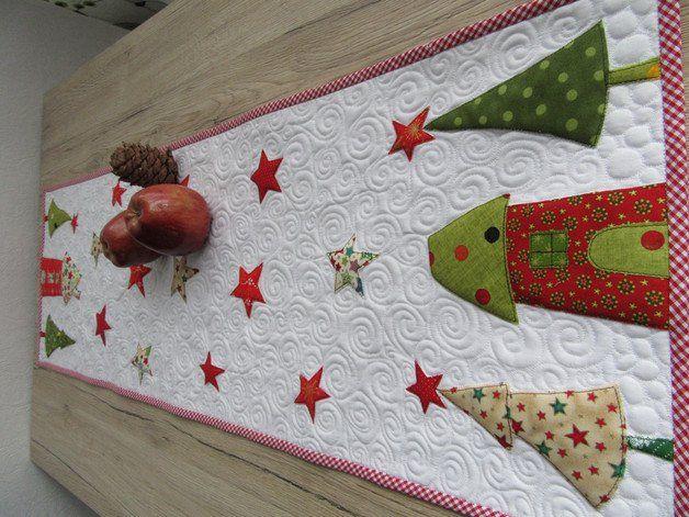 """Tischläufer - Quilt-Tischläufer """"Weihnachten"""" - ein Designerstück von Aksiny bei…"""