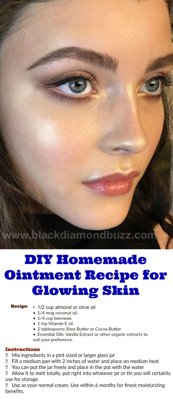 DIY Homemade Ointment Recipe for Glowing Skin  I have actually had countless demands for a much heavier, creamy homemade ointment recipe. http://www.blackdiamondbuzz.com/diy-homemade-ointment-recipe/  #makeup #lipbalm #skincare #cream #dryskin #skinproduct #ointmentrecipes #coconutoil #recipe #homerecipe #coconutrecipe #glowskin #diy #homemade #naturalremedy #homeremedy