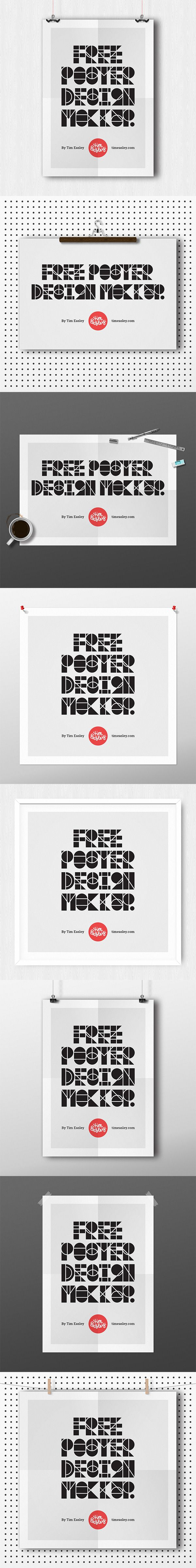 Free Poster Design Mockups in PSD format. Fully customizable.