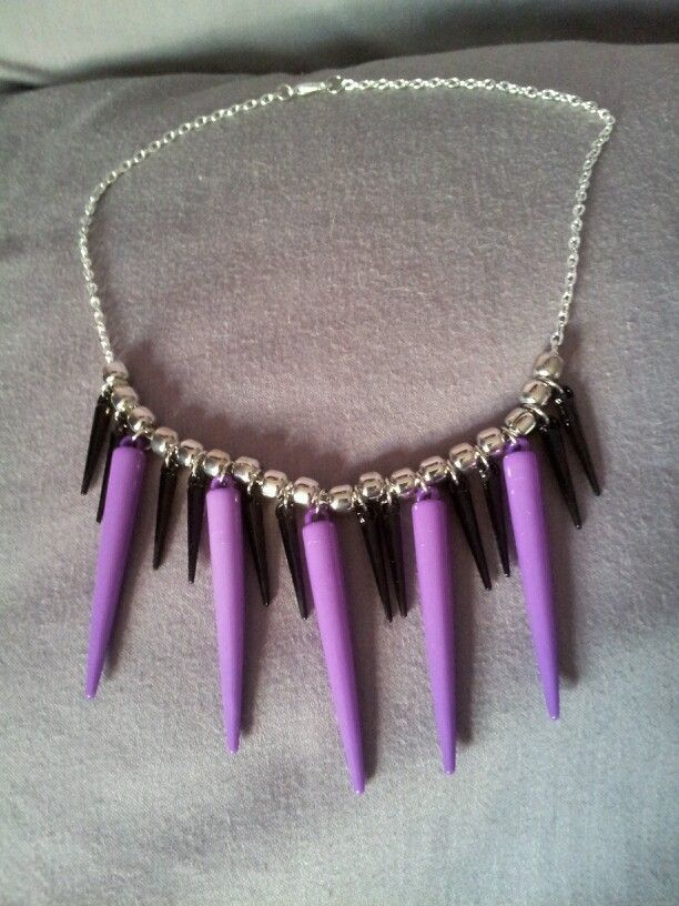 Purple & Black Acrylic Spike Statement Necklace on Silver Chain - $15 (Link available soon)
