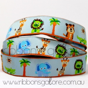 baby jungle animals ribbon (17mm wide) [per metre]