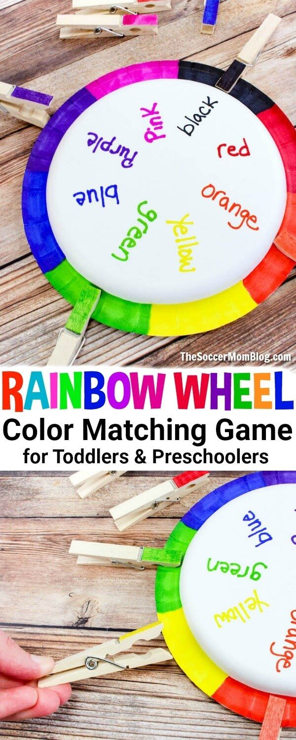 This DIY color matching game for toddlers is a clever way to practice color recognition. This educational craft is super easy and kids can help make it with 3 simple household supplies. Helpful way to teach preschoolers their color words. #preschool #toddlers #learning via @https://www.pinterest.com/soccermomblog