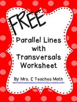 Parallel Lines with Transversals Extra Practice Worksheet | School ...