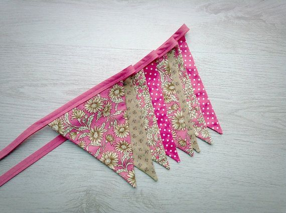 Pink Floral Wedding Bunting Baby Shower Flag by BellaandRoo