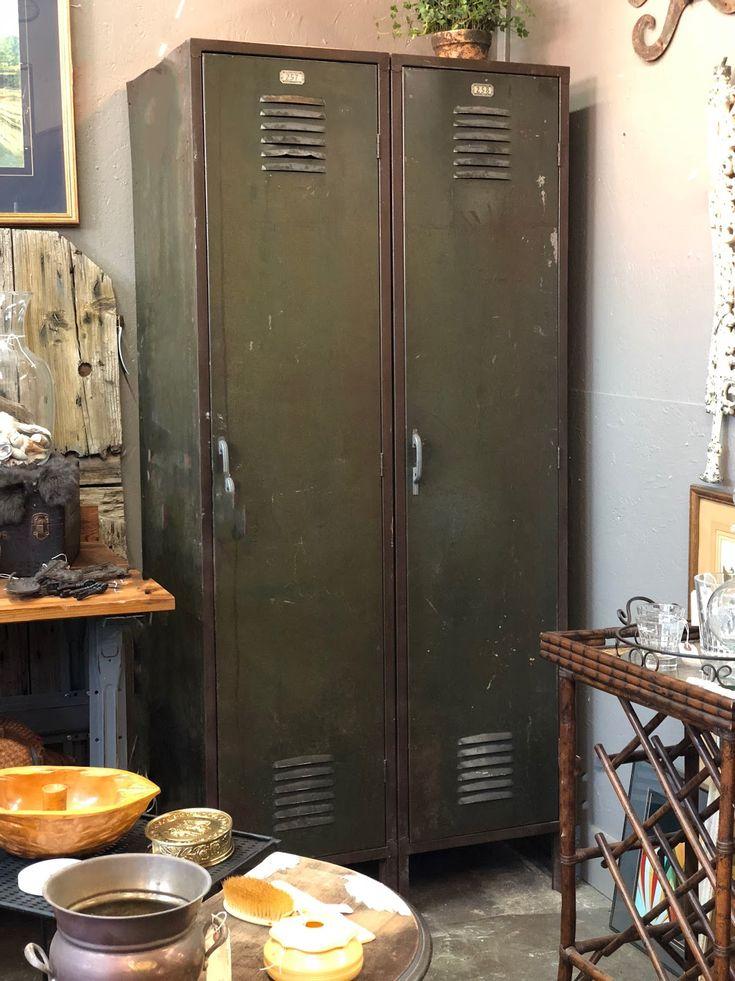 "Vintage Green Lockers On Sale   36"" Wide x 21"" Deep x 78"" High   Were $480 Sale Price $384  Vintage Affection Dealer #1680  White Elephant Antiques 1026 N. Riverfront Blvd., Dallas, TX 75207"