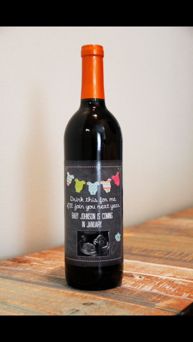 Wine label baby announcement