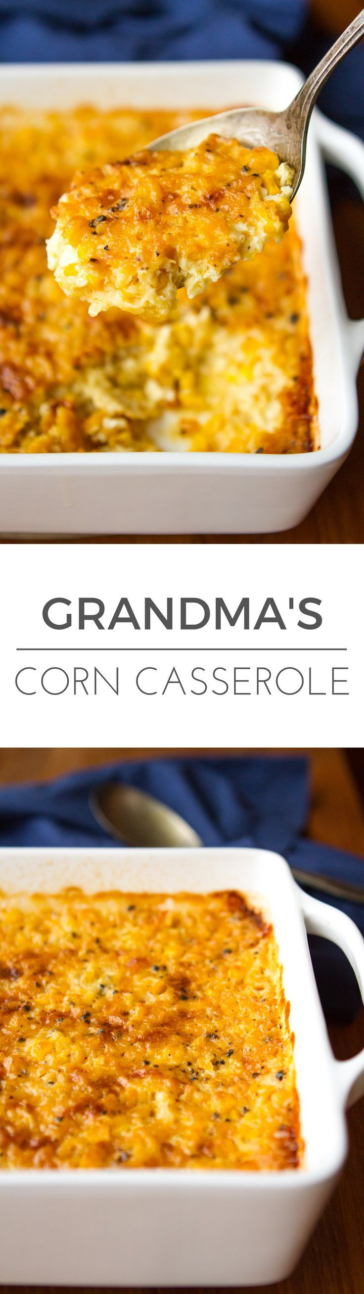 Corn Casserole Recipe -- this creamed corn casserole recipe is SO good you'll want to scrape the dish completely clean to get every last bit of caramelized goodness from the corners! It's on the menu for every family gathering I host… | via /unsophisticook/ on http://unsophisticook.com