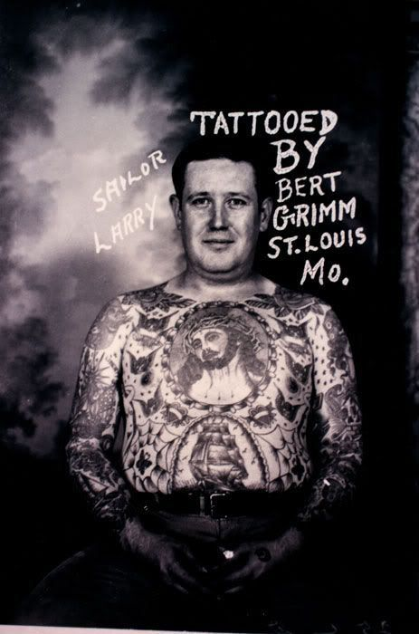 Tattoo legend Bert Grimm started working in the 1910′s and was a pioneer of the art form. #InkedMagazine #tattoos #tattooed #vintage #oldschool