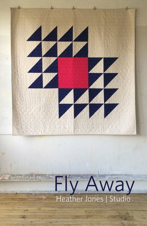 Fly Away Large Version: finished size 72 x 72 Small Version: finished size 36 x 36  Designed by Heather Jones  Fly Away was inspired by the Winged Square, a traditional quilt pattern. In my version, the scale of the block has been dramatically increased so that it makes up the vast majority of the finished work. Using solid colored cottons and simple construction, Fly Away creates a strong graphic design that is at once both modern and timeless and is suitable for both beginner and advanced…
