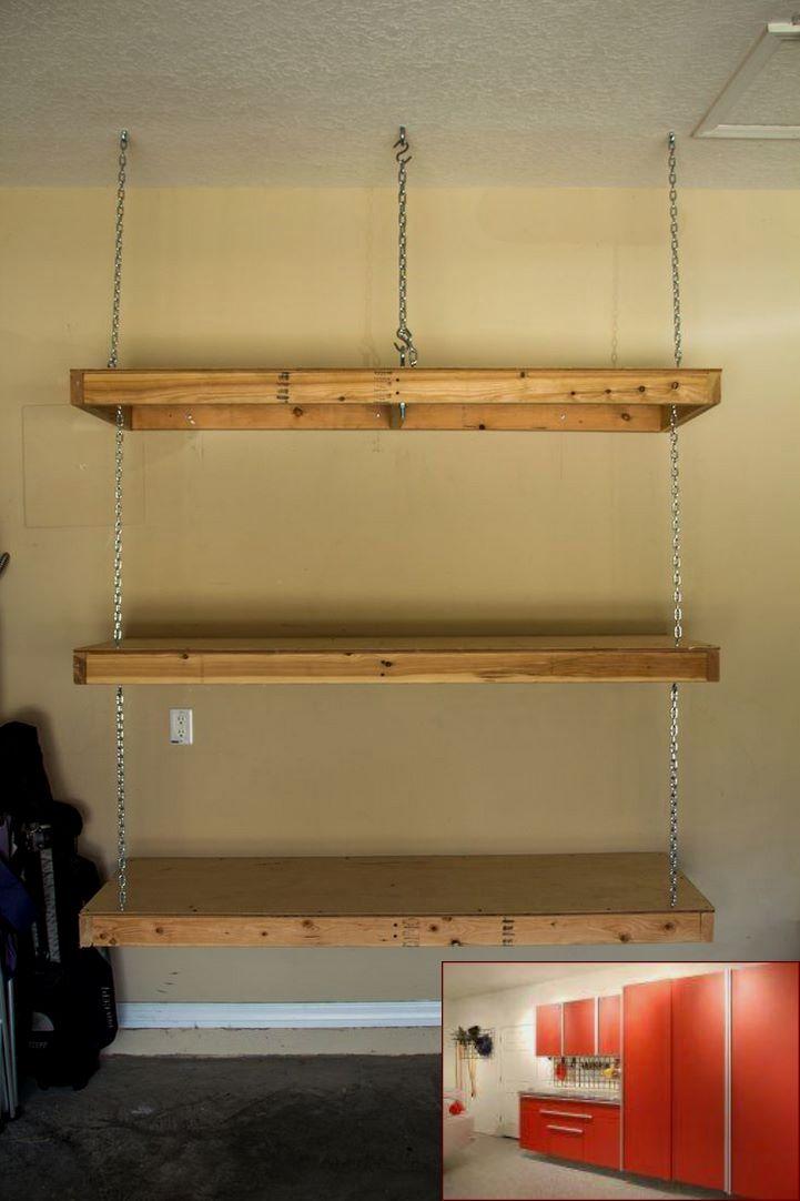 Garage with storage above and pics of garage gym organization