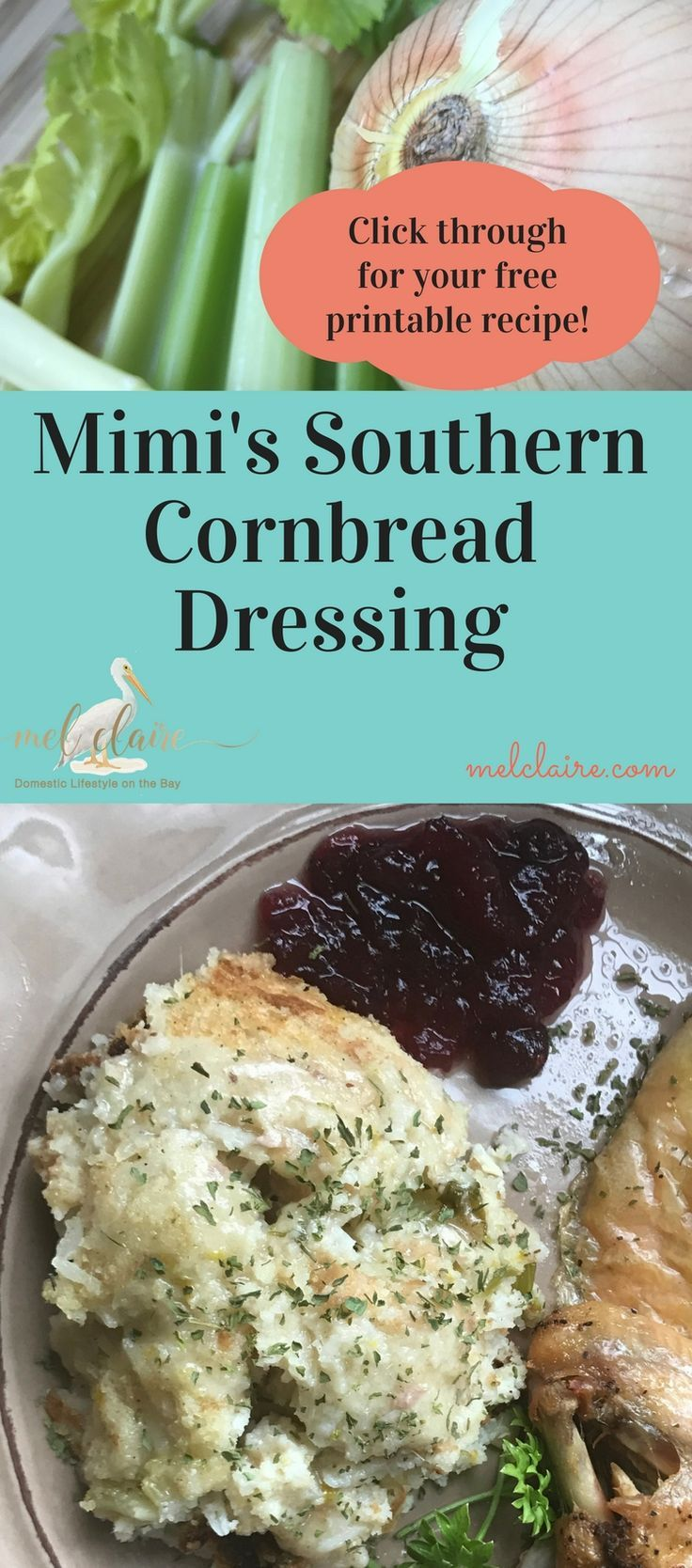 Mimi's Homemade Cornbread Dressing Recipe is the perfect addition to your Thanksgiving or Christmas dinner table. You will love it! via /https/://www.pinterest.com/MelClairedotcom/