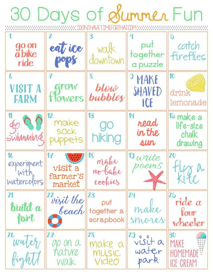 30 Day of Summer Fun Challenge