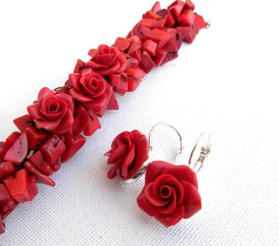 Rosso gioielli rosa rossa bracciale corallo di insoujewelry