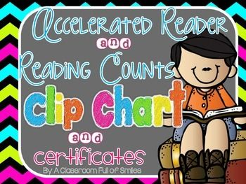 **Chalkboard Edition**Most classrooms use AR or Reading Counts. These two programs are wonderful ways to motivate little ones to read read and read some more. I've created a clip chart to go along with both of these programs. I used a clip chart in my classroom this year to keep track of their points.