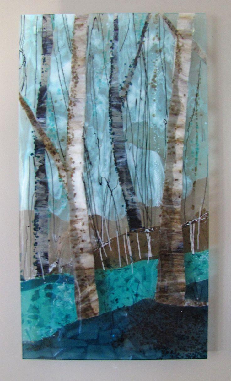 Trio of Trees: #1 Fused Glass by Alice Benvie Gebhart