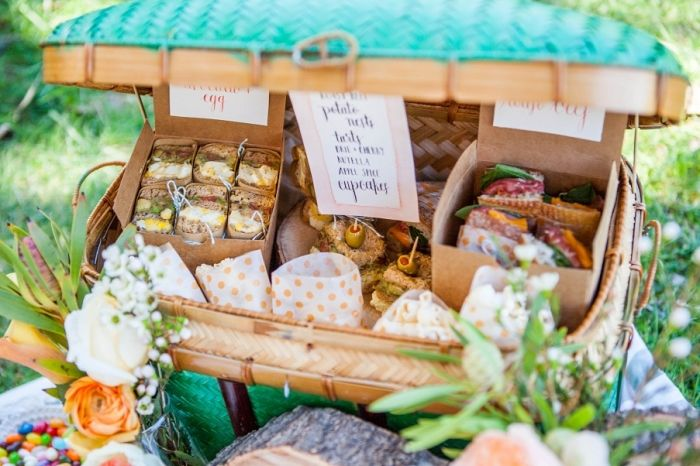 Wedding Picnic Inspiration: A gorgeous picnic basket of sumptuous summer sandwiches and goodies. Photo Source: Elisa Event Design. #summerwedding #weddingpicnic #picnicbasket