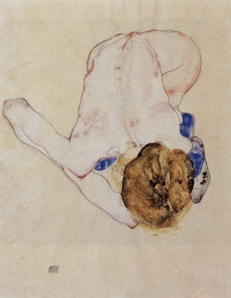 Nach vorn gebeugter weiblicher Akt by Egon Schiele
