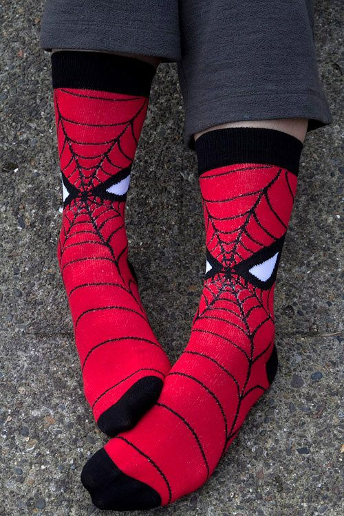 Spidey masks.... for your feet! May your toes be ever-vigilant, and remember: with great socks comes great responsibility.