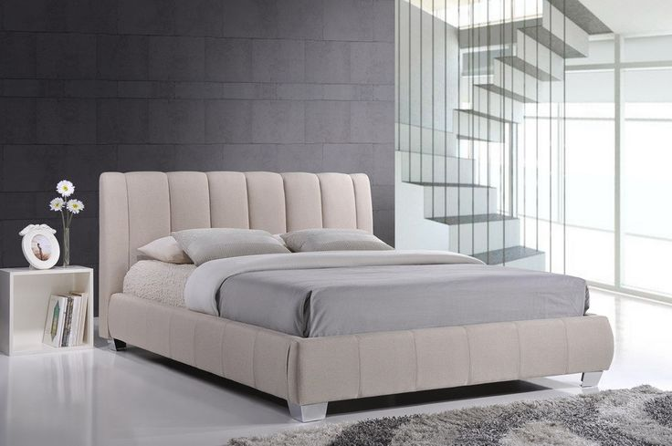 Baxton Studio Marzenia Contemporary Light Beige Fabric Queen Size Bed - Light Beige