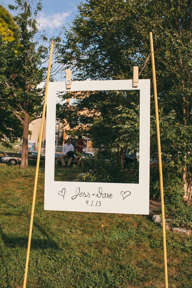 Giant Polaroid Frame | 21 Stunning DIY Wedding Photo Booth Backdrops