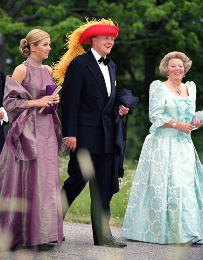 (L-R) Crown Princess Maxima, Crown Prince Willem-Alexander & Queen Beatrix of the Netherlands attends a Performance At Gripsholm Castle during 25th wedding anniversary for King/Queen of Sweden in 2001's