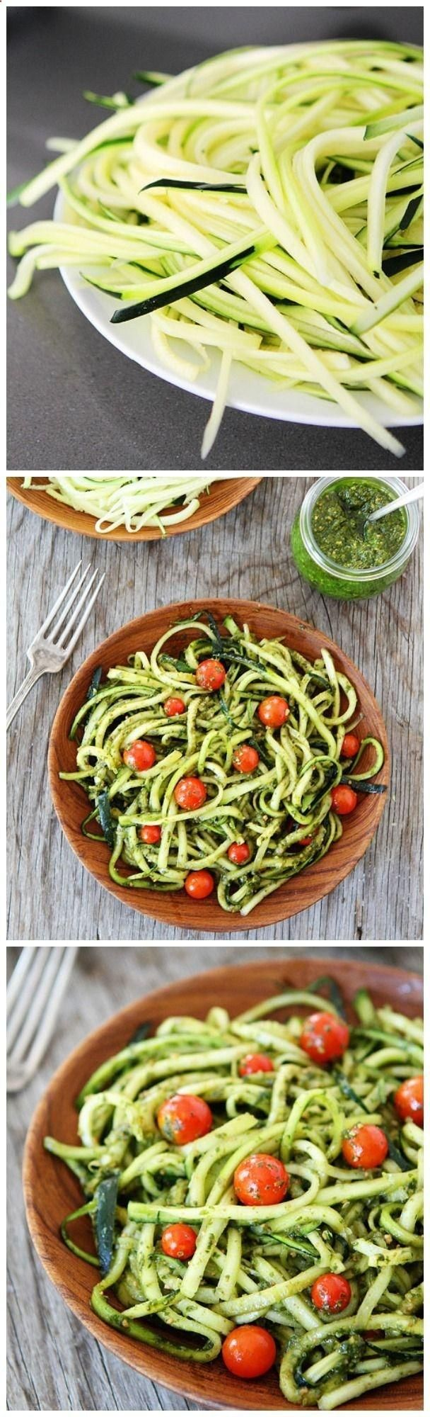 Zucchini Noodles with Pesto - add garlic, onion, salt, and pepper. Top w cherry tomatoes
