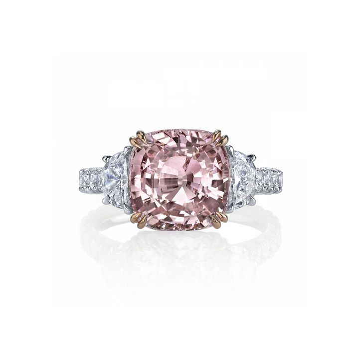Colored Stone Engagement Ring: Three-Stone Padparadscha Sapphire and Diamond Ring From Omi Gems.