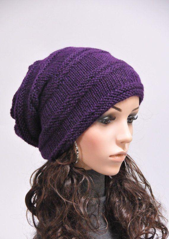 ec60f1217 Hand Knit woman men wool Slouchy Hat Deep Purple - ready to ship ...