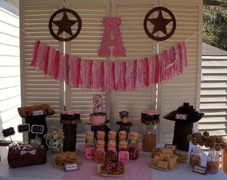 Pink and brown cowgirl birthday party! See more party planning ideas at CatchMyParty.com!