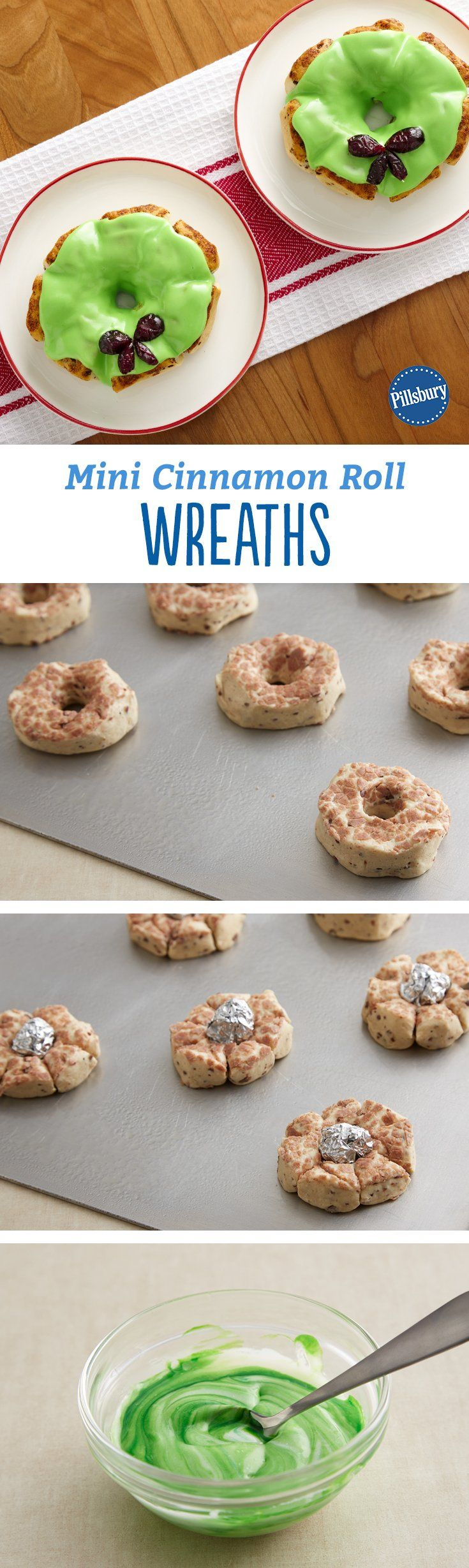 These too-cute Mini Cinnamon Roll Wreaths are the perfect kid-friendly holiday breakfast! Expert tip: If you don't like cranberries, almost any dried fruit will work in their place. For large pieces, use kitchen scissors to cut into bow shapes.