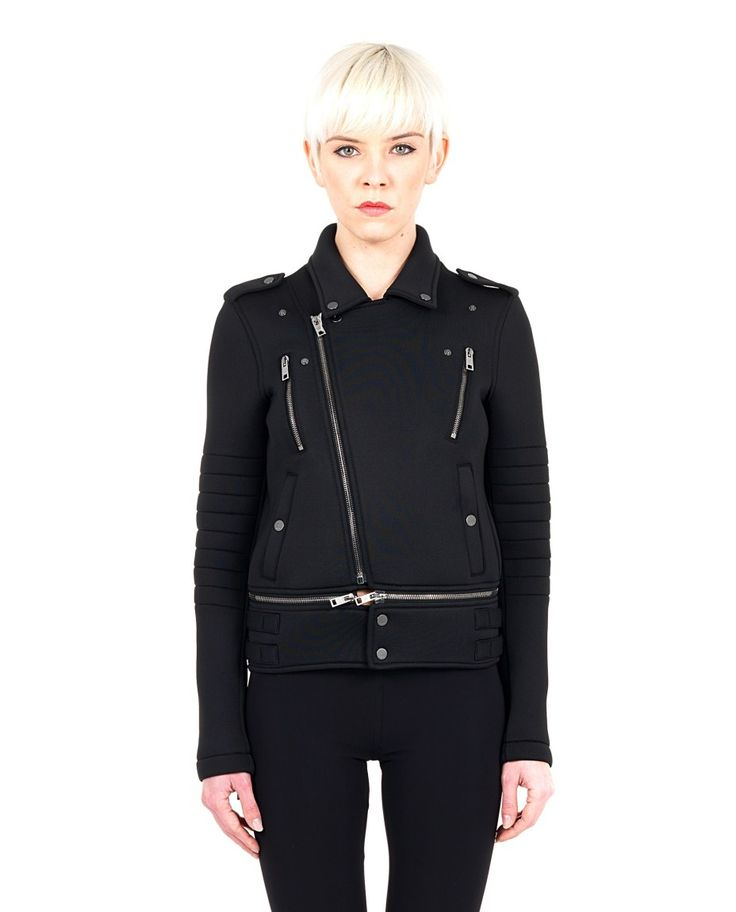PORTS 1961 black jacket lined neoprene collar shirt long sleeves engraving by Andy Warhol on the back four front pockets removable bottom transversal closure with contrast zip 87% PL 13% Spandex Lining: 93% SE 7% Spandex