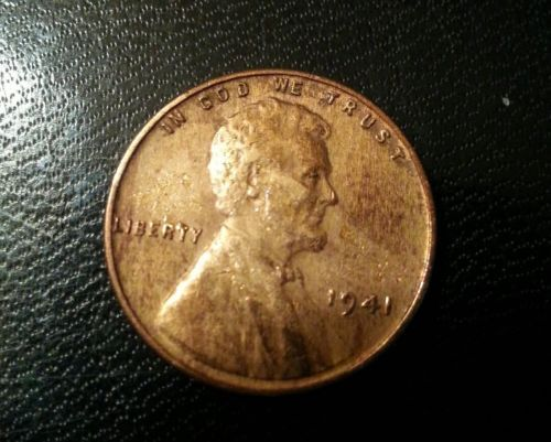 1941 p Lincoln Wheat Penny Error coin Wrong Planchet