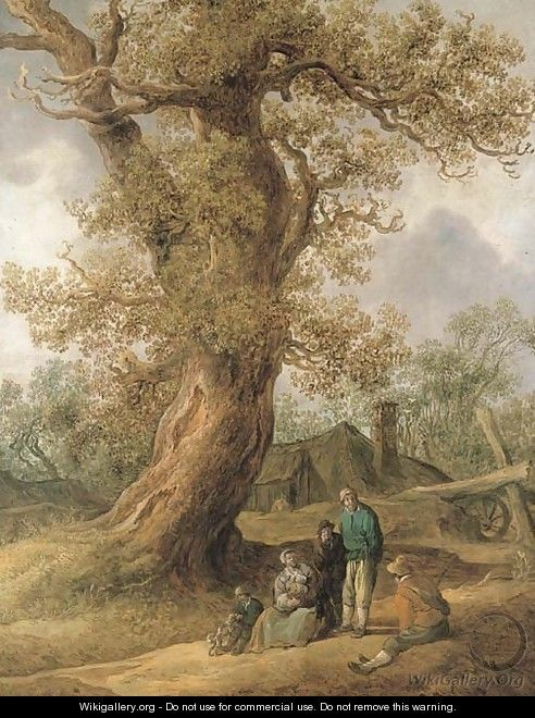Jan van Goyen - A family of peasants sitting under an oak tree with cottages in the distance - Jan van Goyen