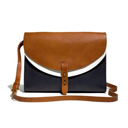 "I'm digging the tri-colors here and the brass stud closures on this ""Essex Bag"" from Madewell. 168$"