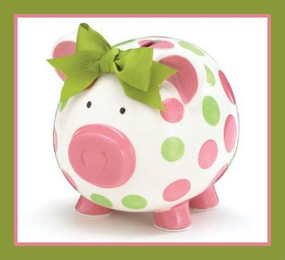 Girls Pink & Green Circles Pig Piggy Banks Green Bow Ceramic Personalized Baby Nursery Decor