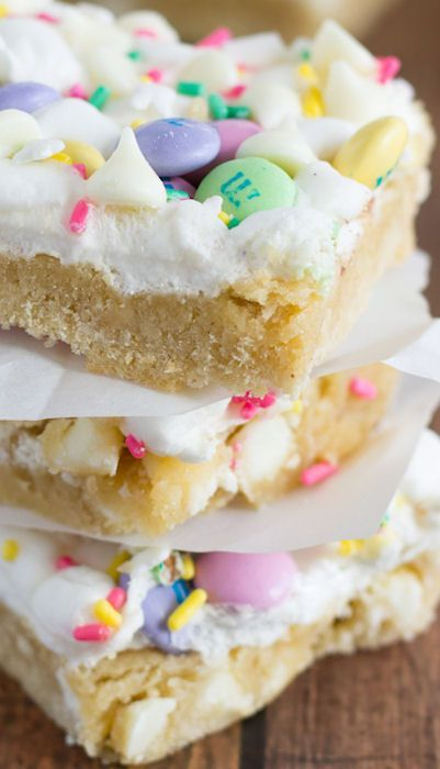 Spring Confetti Bars...made with spring colored M & M's, white chocolate, sprinkles, and gooey marshmallows
