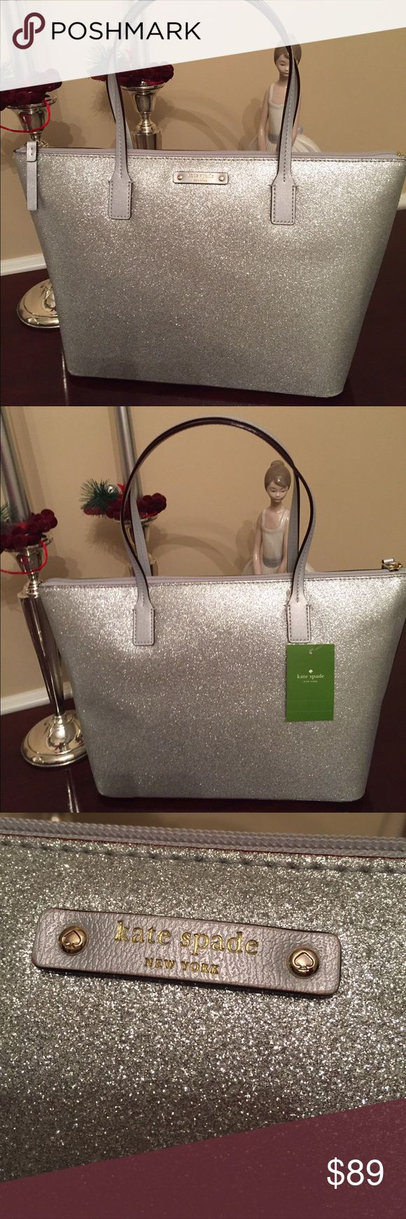 Kate Spade Haven Lane Silver Bag! Kate Spade Haven Lane Silver Bag!  New with Tags beautiful Silver tote bag. A great bag for a night on the town or a day shopping with the girls. Perfection!! kate spade Bags Shoulder Bags