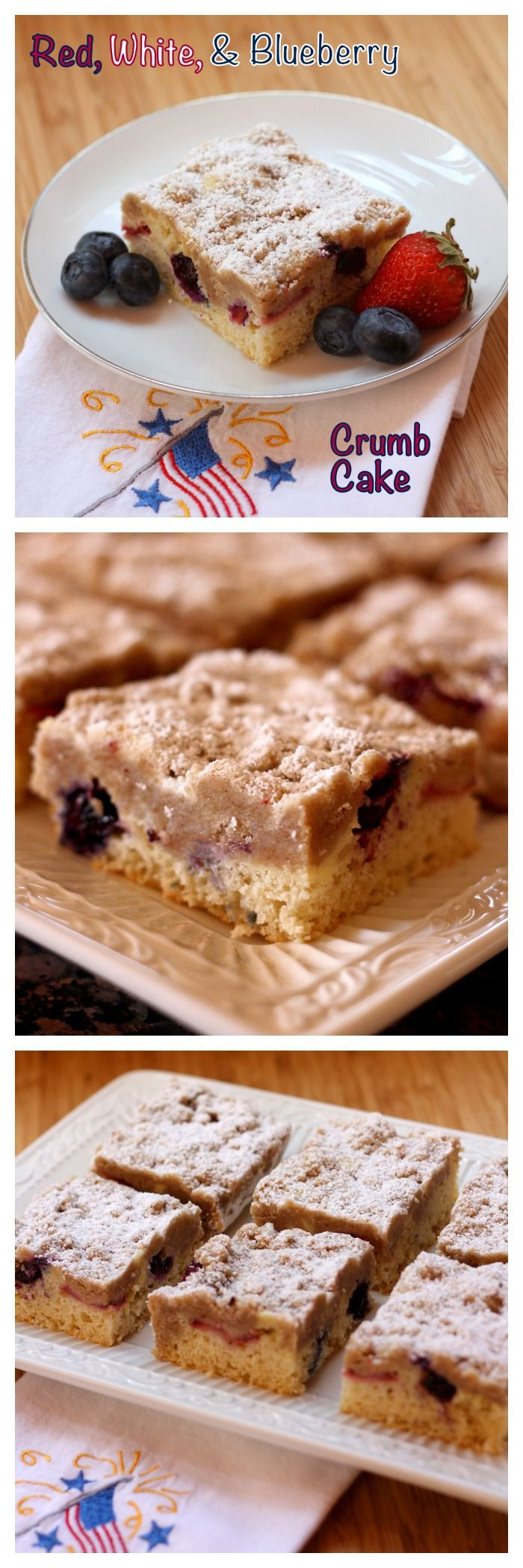 Red, White Blueberry Crumb Cake - the ultimate New York-style coffee cake filled with a berry and cheesecake filling. Perfect for breakfast, brunch or dessert | cupcakesandkalechips.com