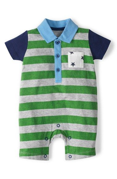 "Free shipping and returns on Mini Boden 'Hotchpotch' Polo Romper (Baby Boys) at Nordstrom.com. <p><B STYLE=""COLOR:#990000"">Pre-order this style today! Add to Shopping Bag to view approximate ship date. You'll be charged only when your item ships.</b></p><br>The Hotchpotch romper starts off with sturdy cotton jersey and goes bold with punches of color on prints, pockets and even brightly hued snaps."