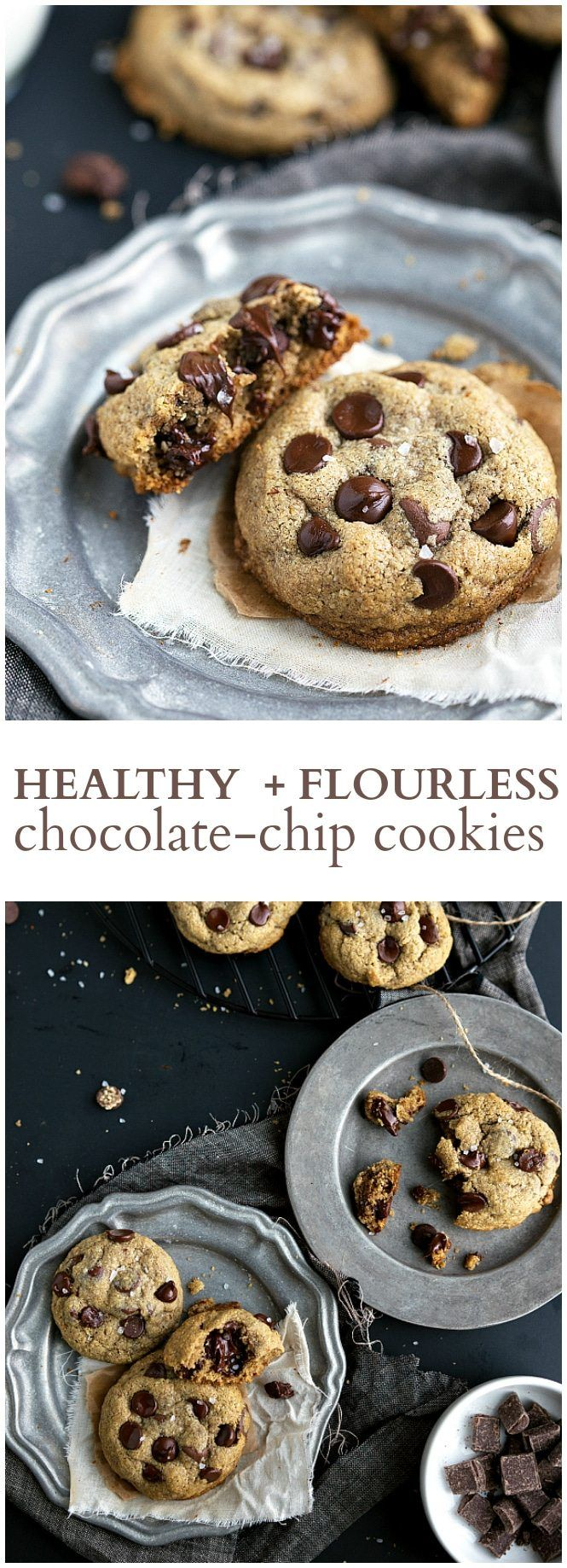 The best ever flourless + healthy chocolate chip cookies. These cookies have no butter, white flour, or refined white sugar.