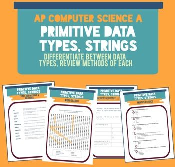 Primitive data & string data types, terms, and methods!! This activity packet reviews common terms related to Java primitive data types (int, double, boolean) and Strings.