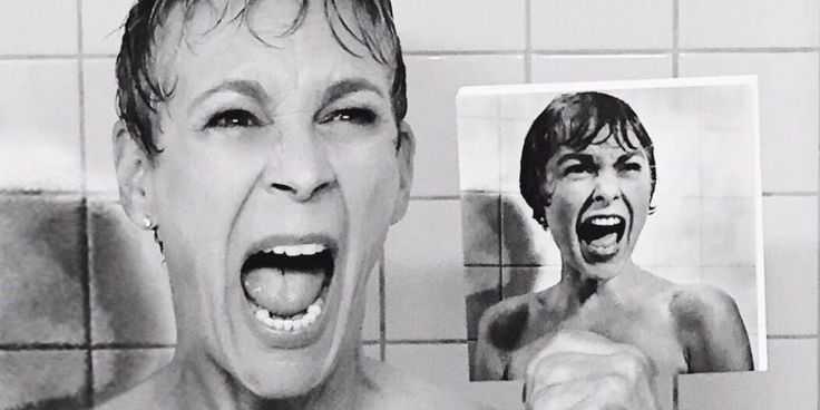 Jamie Lee Curtis recreates Janet Leigh's Psycho shower scene