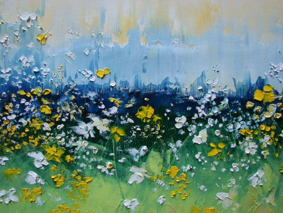 Scent of Meadow Flowers 36x12 ORIGINAL art by studiomosaic on Etsy