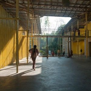 Bamboo-framed canopy shades Bangladesh  community centre by Schilder Scholte